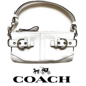 COACH Winter-White Leather Baguette Bag